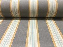 Brook Herringbone Woven Stripe Grey/Ochre Curtain