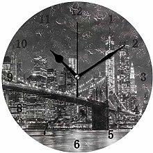Brooklyn Bridge Landscape Wall Clock, Silent Non