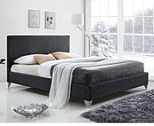 Brooklyn Fabric Upholstered King Size Bed In Dark