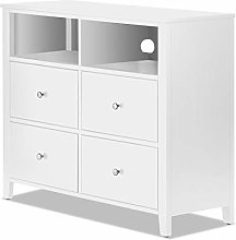 Brooklyn White Media Chest with 4 deep drawers,