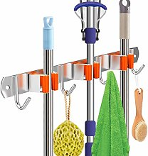 Broom Holder Wall Mounted, 5 Position with 6 Hooks
