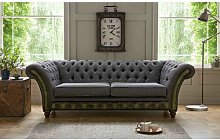 Broomhedge Genuine Leather 3 Seater Chesterfield