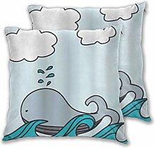 BROWCIN Throw Pillow Covers Set of 2 Nautical