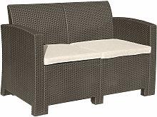 Brown 2-Seater Rattan Sofa Lounger Cream Cushion