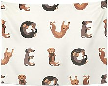 Brown Animal Flat Pattern Word Love of Dachshund