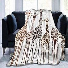 Brown Animal Giraffes Fleece Throw Blankets,
