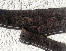 BROWN Brush Fringe Tassels Textile Cut Pillow