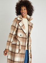 Brown Check Belted Wrap Coat With Wool - 16
