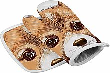 Brown Corgi Puppy Pen Drawing Heat Resistant Oven