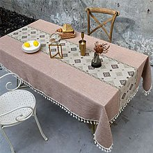Brown Cotton And Linen Household Hotel Tablecloth