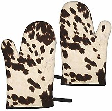 Brown Cowhide Oven Mitts,Heat Resistant Non-Slip