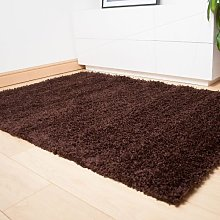 Brown Dominica Quality Deep Pile Shaggy Rug -