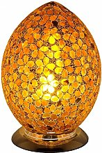 Brown Flower Mosaic Glass Vintage Egg Table Lamp