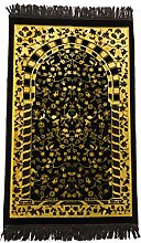 BROWN/GOLD Beautiful Turkish Prayer Mat Janamaz