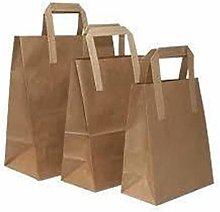 Brown Kraft Paper Food Carrier Bags with Handles