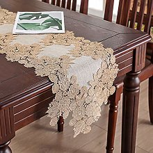 Brown Lace Cotton Linen Flower Embroidery Table