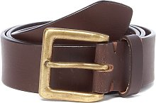 Brown Leather Casual Belt - S