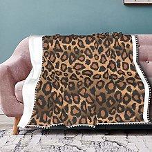 Brown Leopard Animal Print Pompom Fringe Blanket
