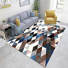 Brown Living Room Rug Abstract ink pattern living