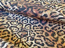 Brown PANTHER LEOPARD Print Cotton Fabric Material