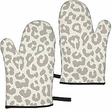 Brown Pattern Leopard Oven Mitts,Heat Resistant