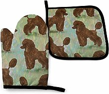Brown Poodle On Pastels Oven Mitt Cooking Gloves