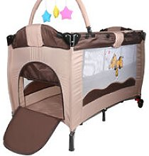 Brown Portable Folding Baby Play Bed