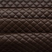 Brown Quilted Leather Diamond Stitch Padded