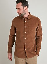 Brown Regular Fit Corduroy Shirt - M