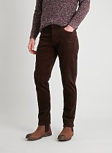 Brown Slim Fit Corduroy Trousers With Stretch -