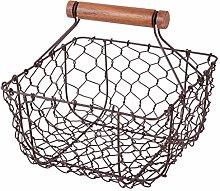 Brown Storage Trug - Chicken Wire Storage Basket