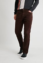 Brown Straight Leg Corduroy Trousers With Stretch