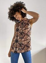 Brown Tie Dye Sleeveless Shirt - 14