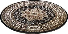 Brown Traditional Design Soft Pile Round Area Rug