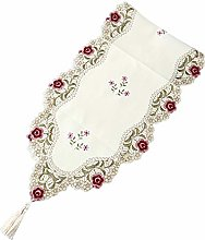 Brownyon Table Runner Vintage Embroidered Flowers