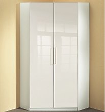 Bruce Corner Wardrobe In White High Gloss Fronts
