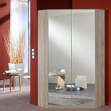 Bruce Mirrored Corner Wardrobe In Oak Effect With