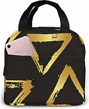 Brush Triangles Gold Reusable Insulated Lunch Bag