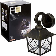 Brushed Black Gold Effect Outdoor Metal Wall Light