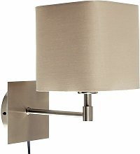 Brushed Chrome Plug In Wall Light & Square Shade -