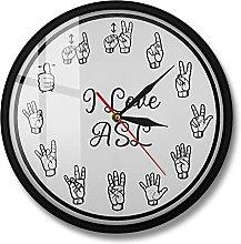 BRYSJ American Sign Language Numbers Wall Clock