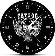 BRYSJ Art Tattoo Studio Modern Wall Clock Skull