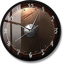 BRYSJ Barbarian Shield Silent Movement Wall Clock
