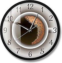 BRYSJ Coffee with Foam Silent Wall Clock Kitchen