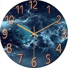 BRYSJ Large Glass Wall Clock Modern Marble Living