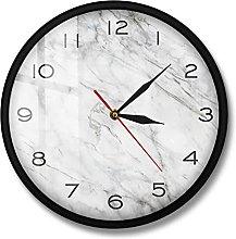 BRYSJ Marble Texture Print Wall Clock Silent Non