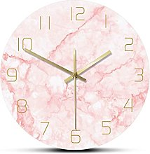 BRYSJ Pink Marble Wall Clock Silent Non Ticking
