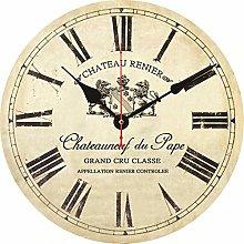 BRYSJ Retro Silent Quiet Vintage Wooden Clock