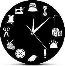 BRYSJ Sewing Room Decor Modern Wall Clock Craft