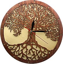 BRYSJ Tree Of Life Wooden Wall Clock Sacred